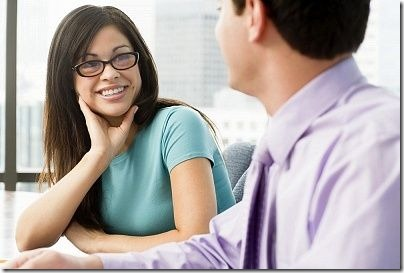 Business person connecting through body language while listening
