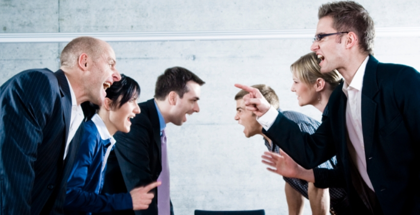 People yelling at each other in brutally honest workplace