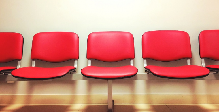 Empty chairs in hospital waiting room