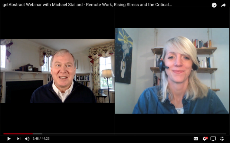 Michael Lee Stallard speaking with getAbstract webinar host