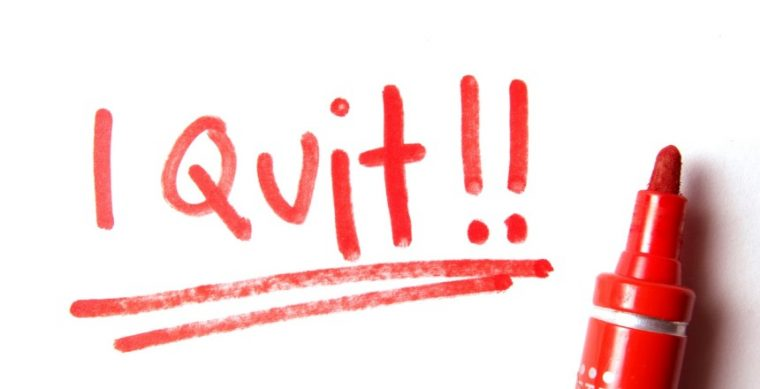 """The words """"I quit"""" written in red marker"""