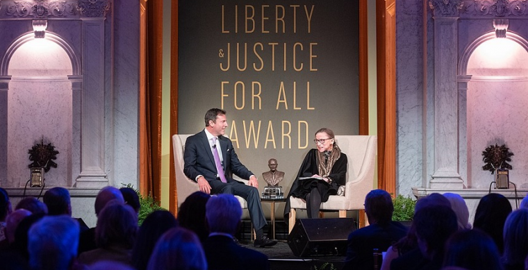 Ruth Bader Ginsburg receiving LBJ foundation award